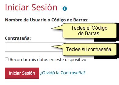"""El formulario para Iniciar Sesión, con los avisos: """"Teclee el Código de Barras. Teclee su contraseña."""""""
