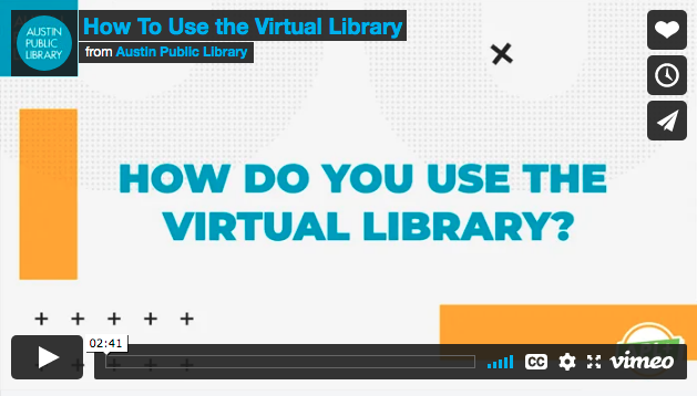 Image of video player with video titled How Do You Use the Virtual Library?