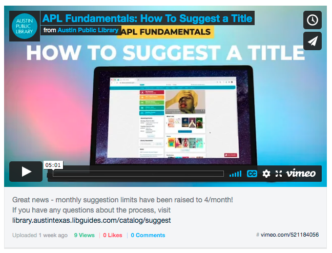 Image of video player showing a video titled APL Fundamentals: How to Suggest a Title