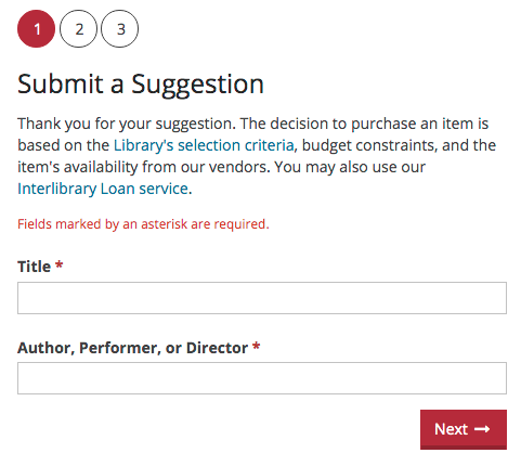 Submit a Suggestion form, Step 1. Box 1 is for the Title, required. Box 2 is for the Author, Performer or Director, required.