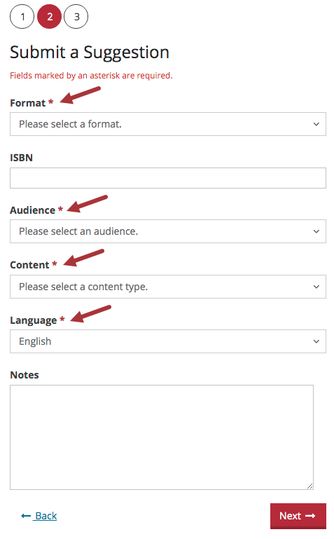 Submit a Suggestion form, Step 2. Box 1 is for Format, required. Box 2 is for ISBN, optional. Box 3 is for Audience, required. Box 4 is for Content, required. Box 5 is for Language, required. Box 6 is for Notes, optional.