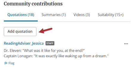 Community contributions sections showing the option to Add quotation.