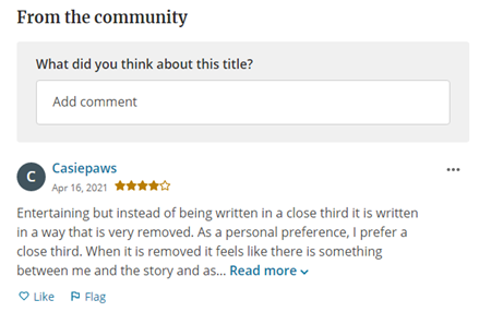 From the community section showing a comment from user Casiepaws.