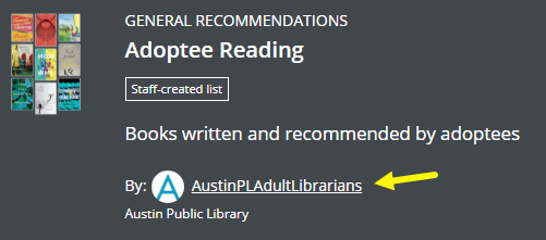 """An arrow points out AustinPLAdultLibrarians as a link on the list """"Adoptee Reading""""."""