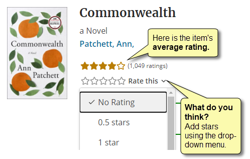Average rating is indicated, as well as the section where you rate an item by choosing the number of stars you'd like to award from a drop-down menu.