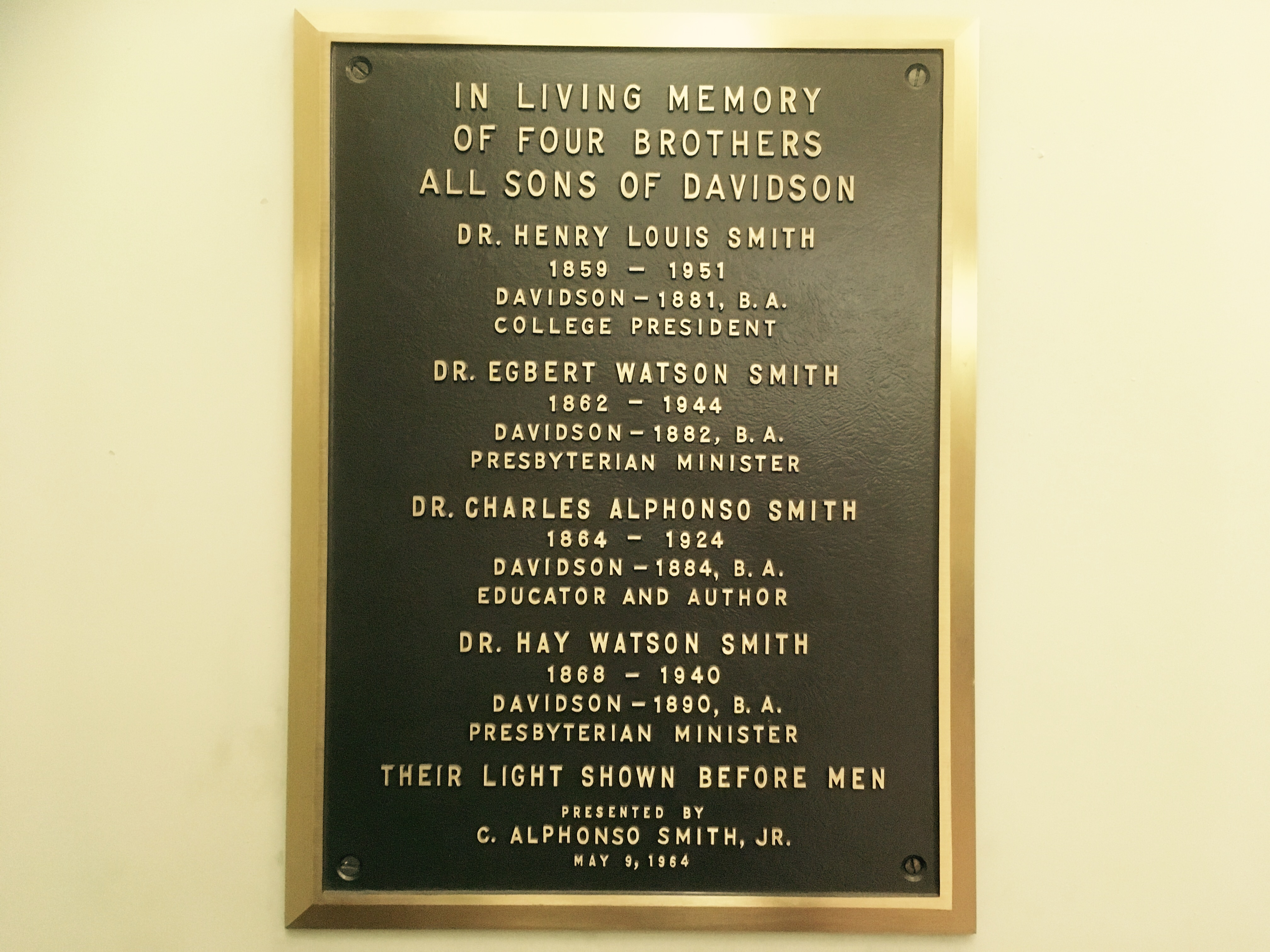 Plaque in Memory of Smith Brothers