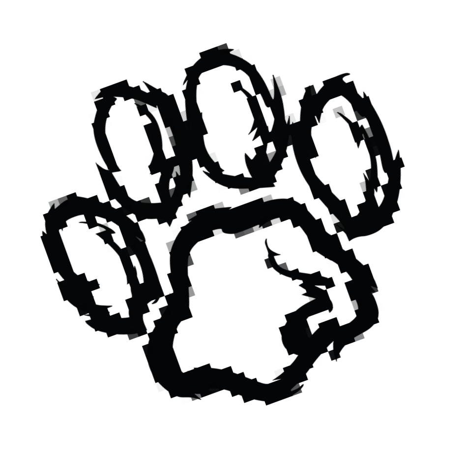 Pixelated pawprint rotated left