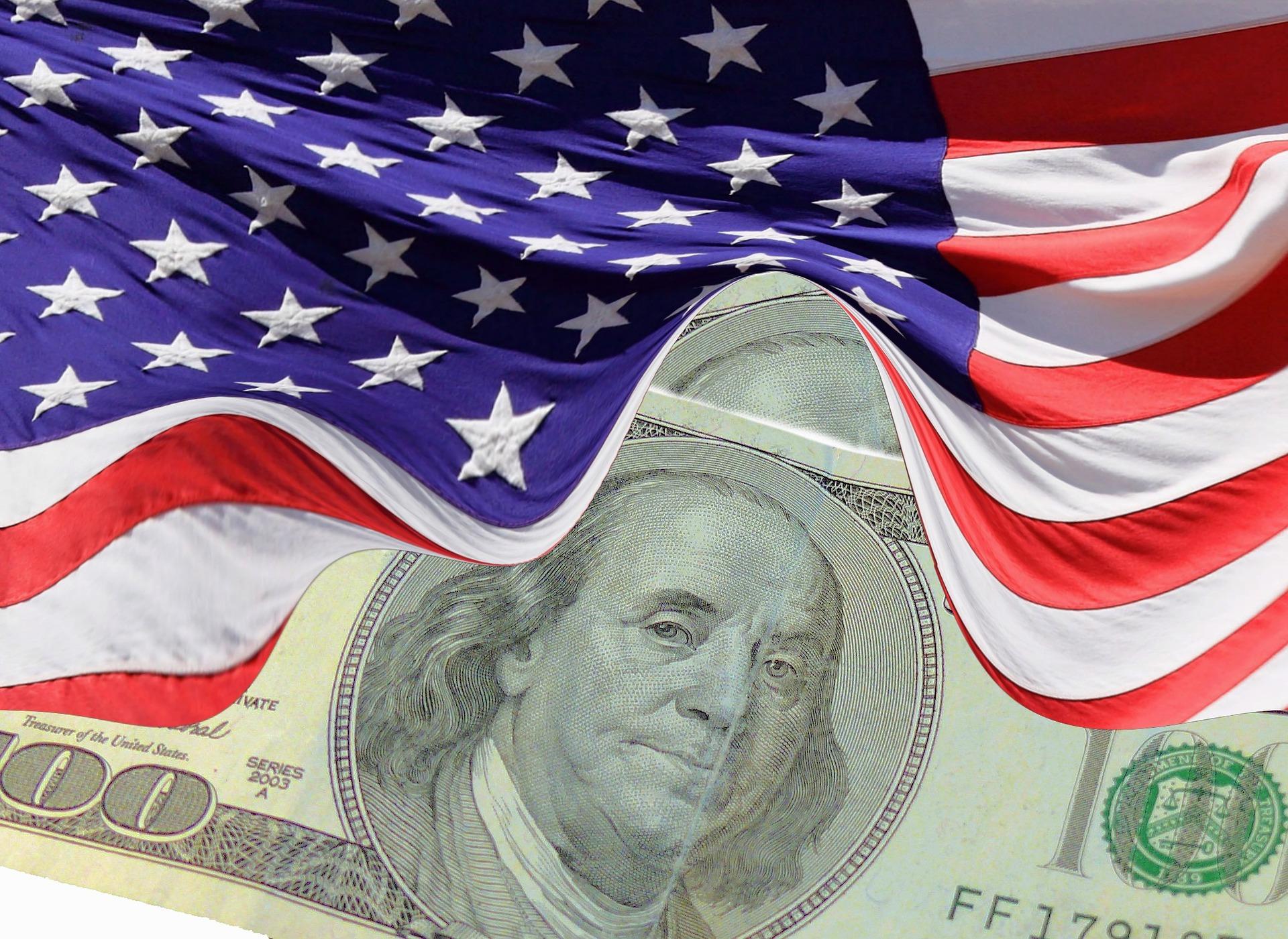 image of US flag with Benjamin Franklin dollar bill