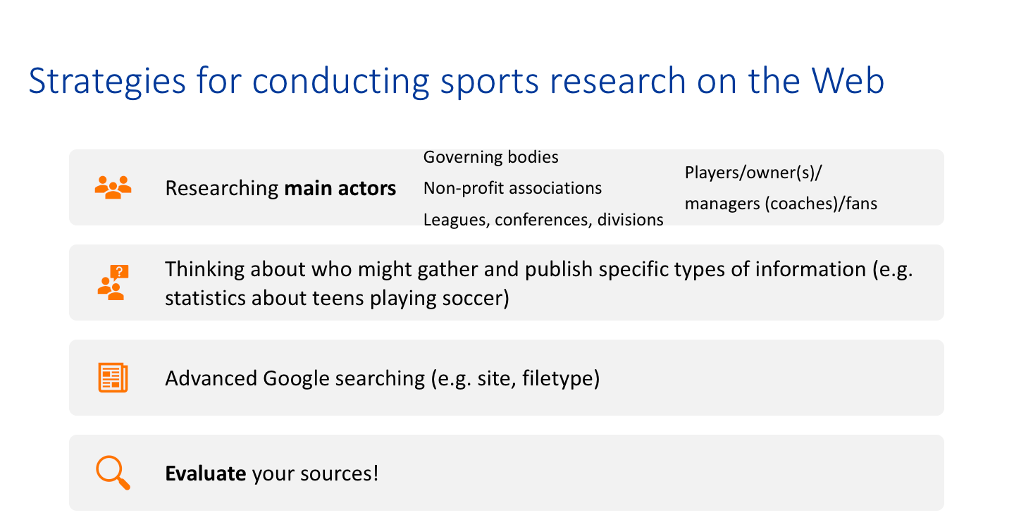 sports research strategies