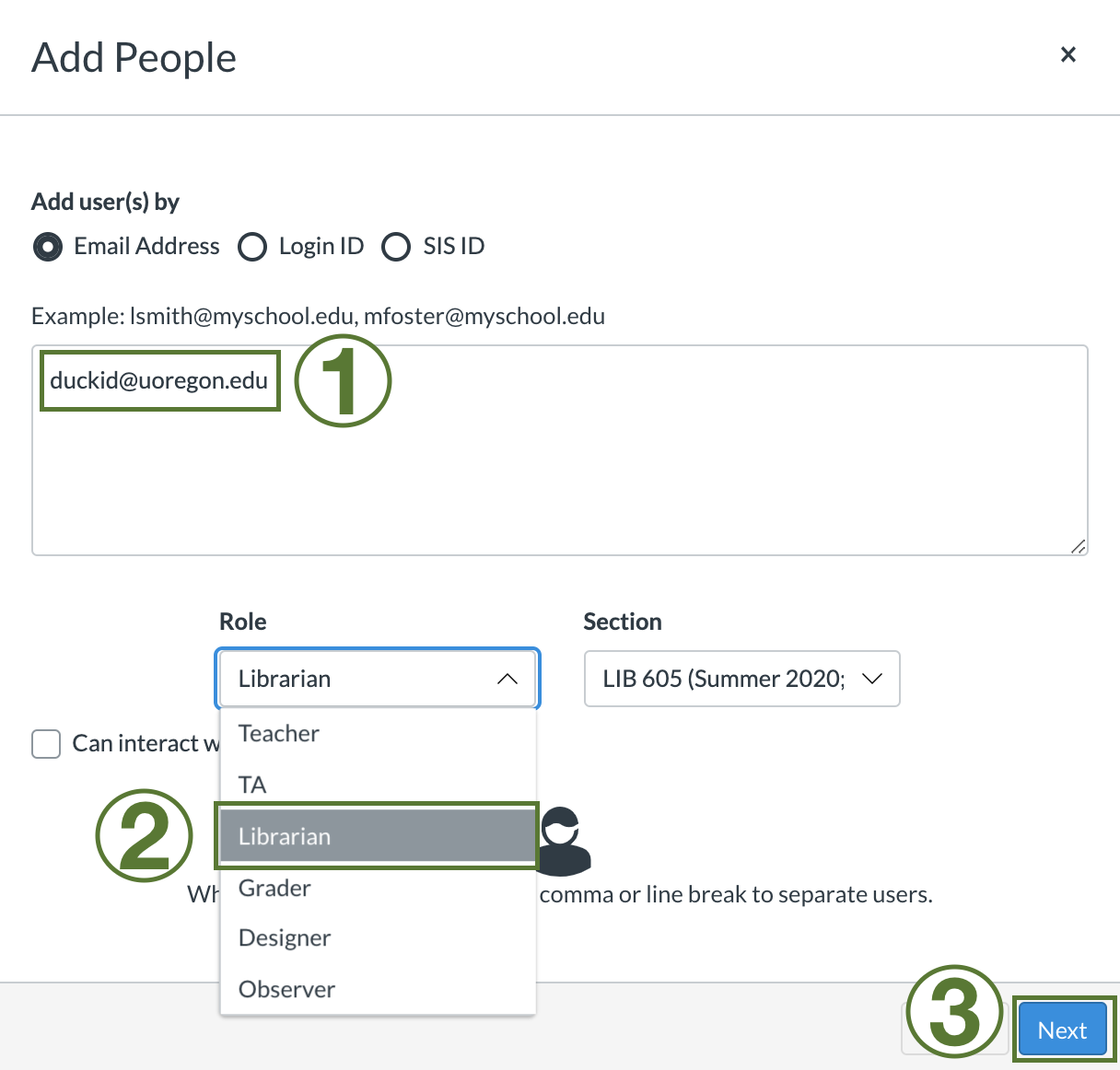 """Add people"" window in the Canvas Learning Management system. Image demonstrates adding a librarian to a course by entering email and selecting the ""Librarian"" role in the drop down menu."