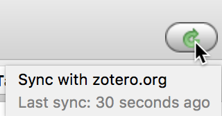 Zotero sync button from interface