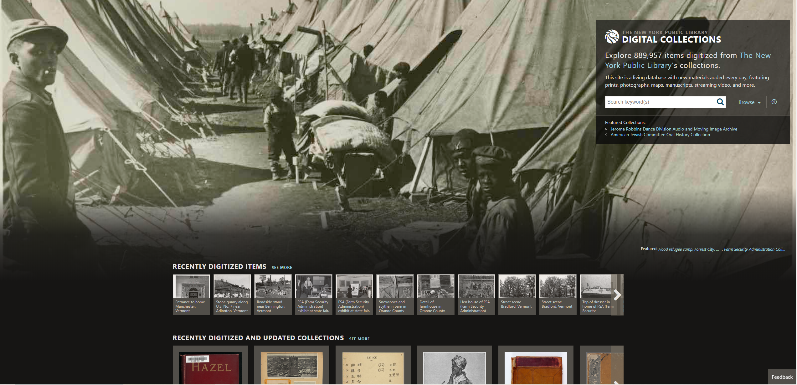 Screenshot of the New York Public Library's Digital Collections Portal Home Page.