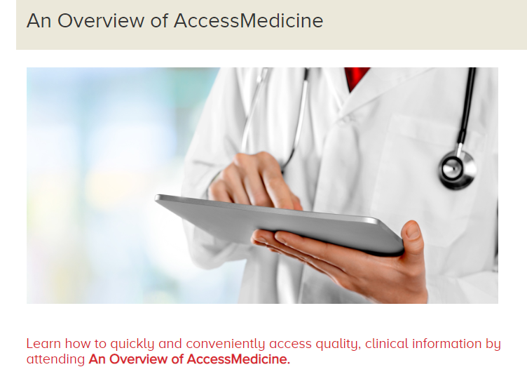 Photo of registration page for AccessMedicine webinar