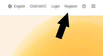 Arrow pointing to Register button on ClinicalKey website