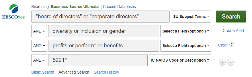 Sample search criteria from Business Source Ultimate