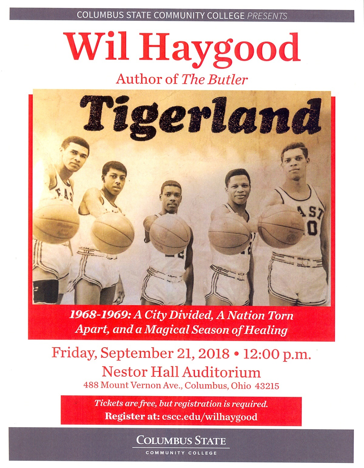 CSCC Presents Wil Haygood author of Tigerland. September 21, 2018