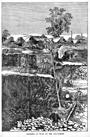 Print, wood engraving, The engraving shows several Chinese gold diggers in coolie hats working in layered excavations. There is a long flume and possibly a sluice box centre and right of the image. The scene is at the Mount Alexander gold diggings near Castlemaine.