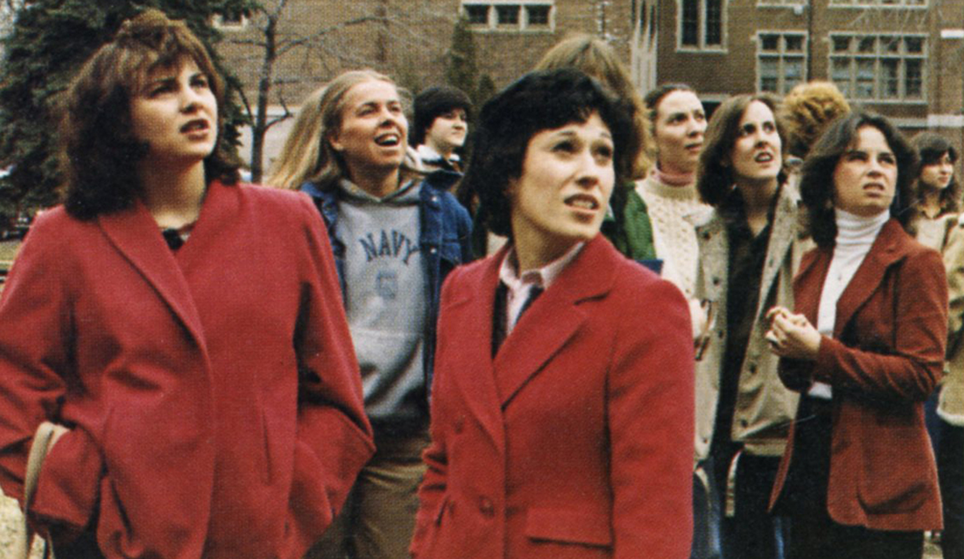 Emmanuel Students in Admin Quad, c. 1980