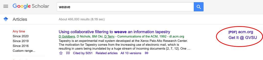 Google Scholar Search Results with Get It @ GVSU link
