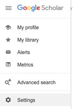 Google Scholar Menu, select Settings