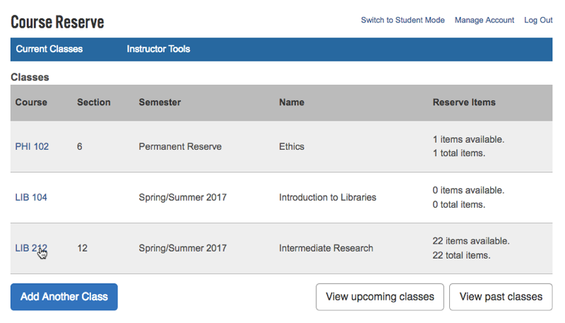 "The link to select a course is in the ""Course"" column of the table"