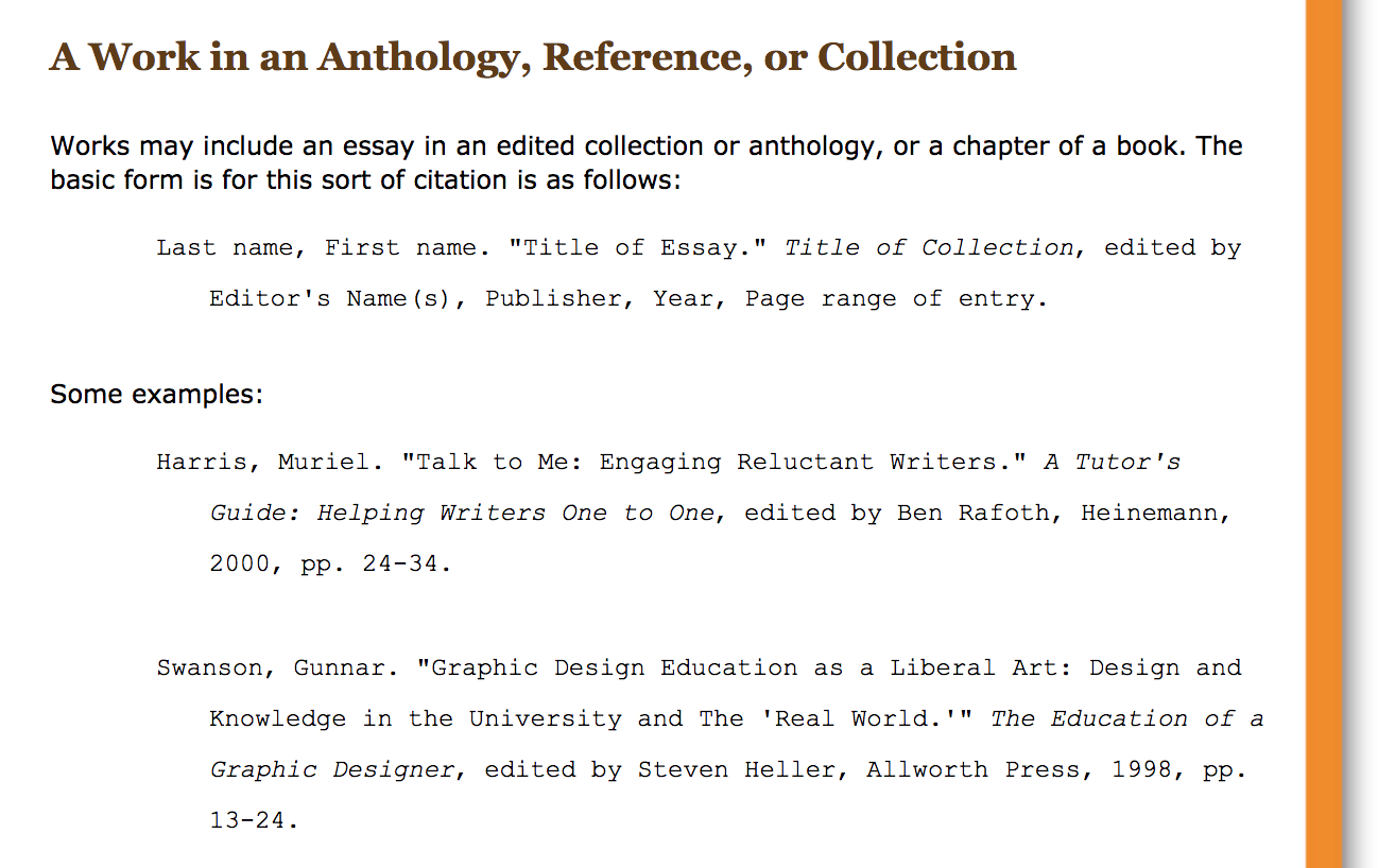 description of how to cite a work in an anthology, reference, or collection