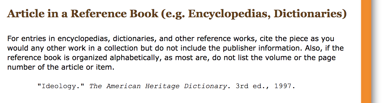 Description of how to cite an article in a reference book