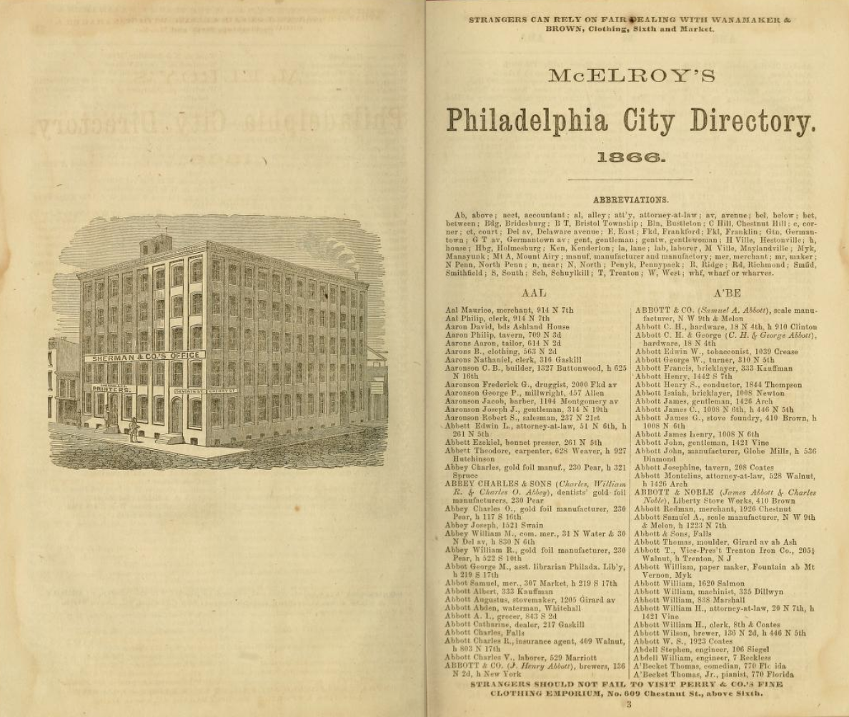 pages from 1866 Philadelphia City Directory