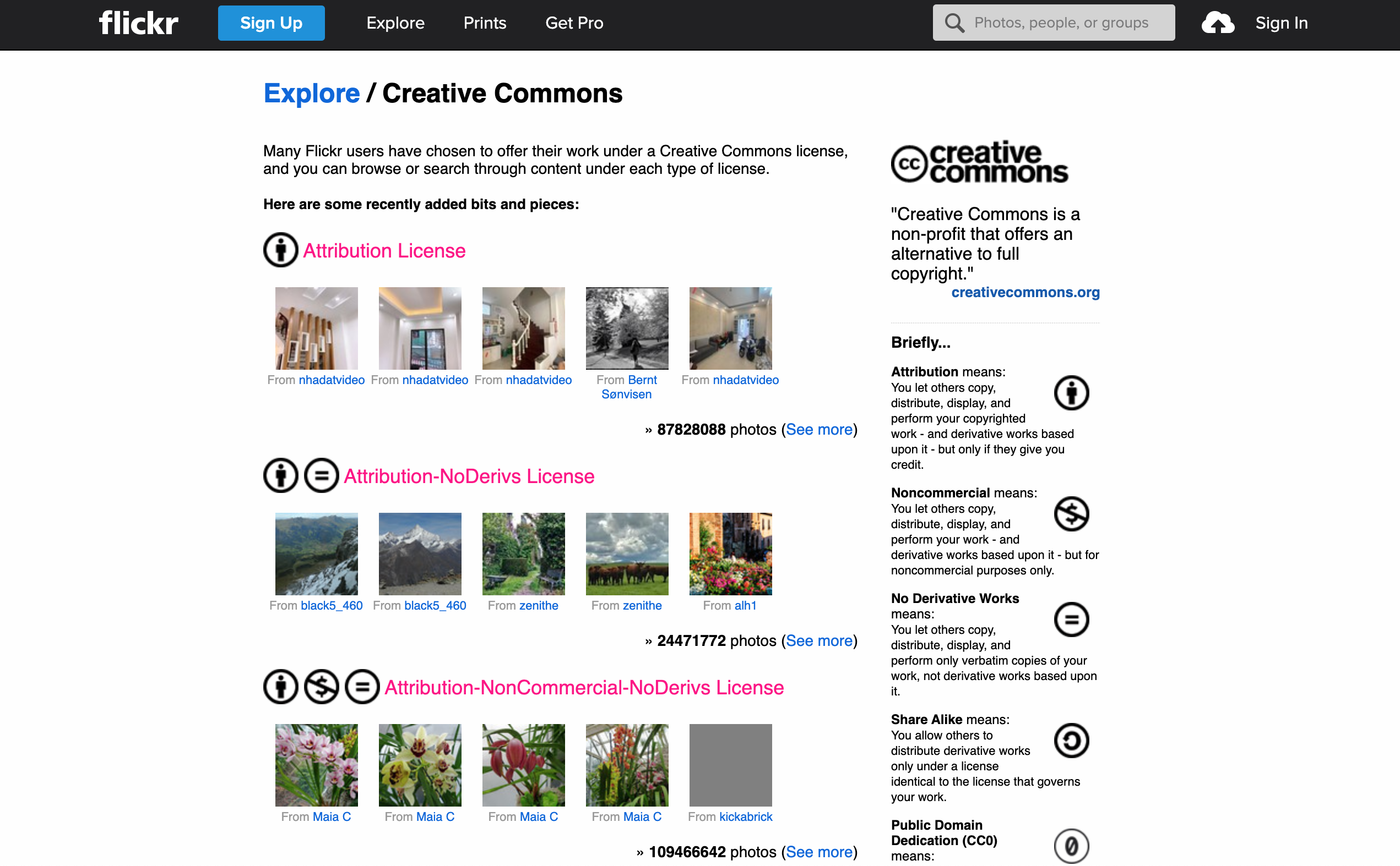 Example of Flickr's Creative Commons search/browse page
