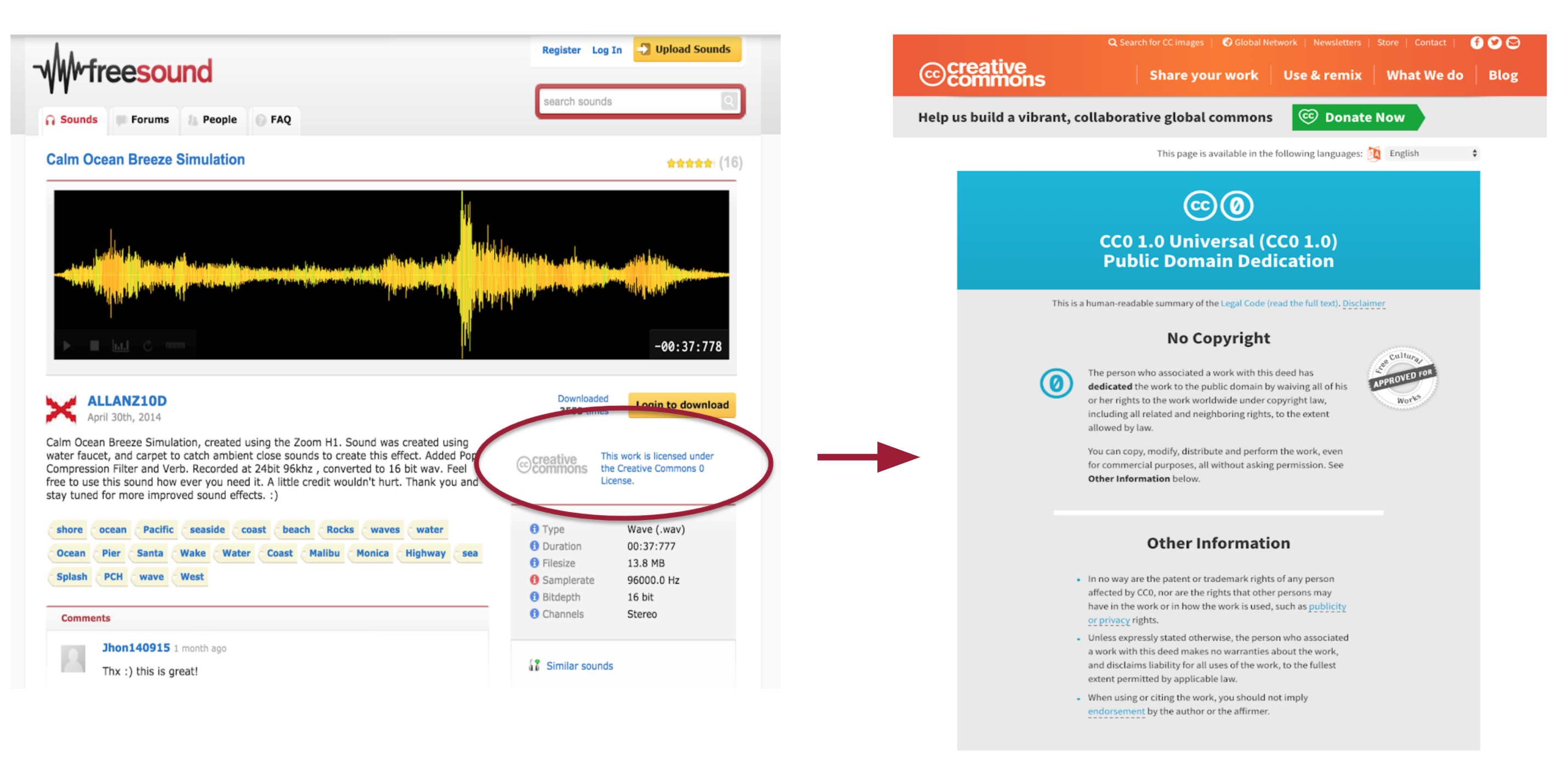 Example of where to find the license of an audio clip in Freesound