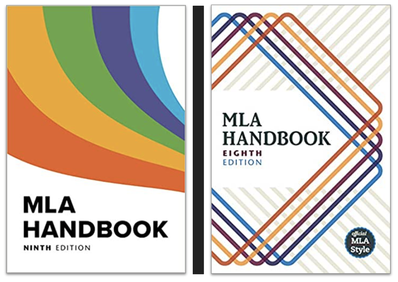 Jacket covers of the 8th and 9th edition of the MLA Handbook