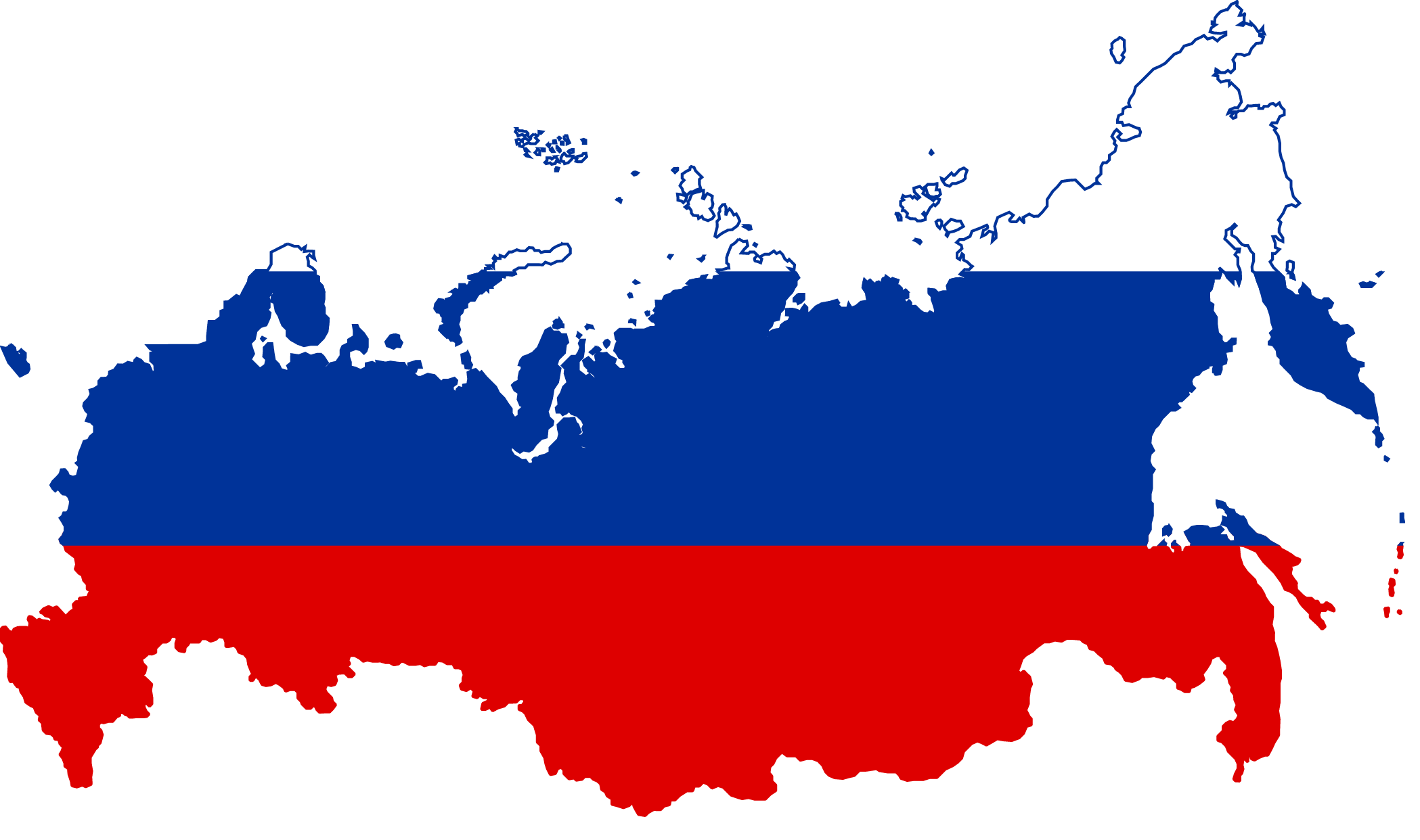 Map of Russia with Russian flag colors superimposed
