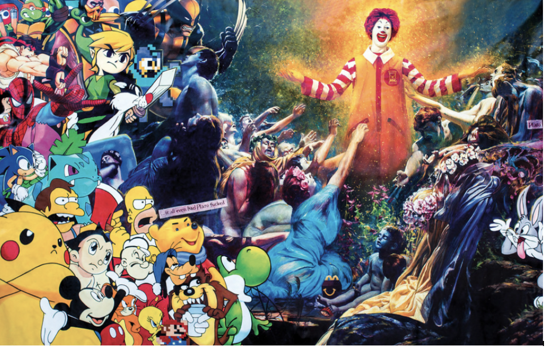 montage of pop culture animated characters staring at a standing Ronald McDonald.