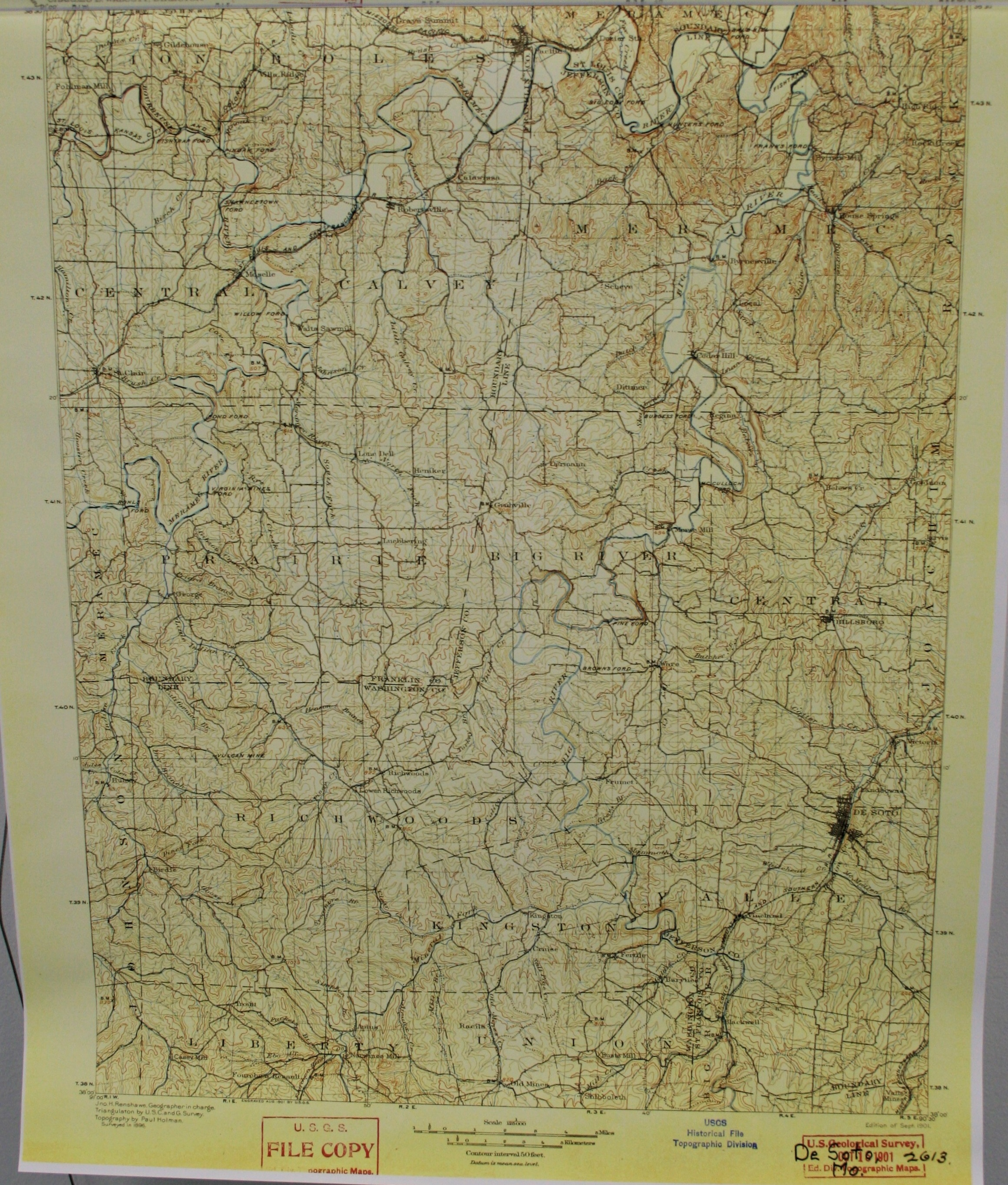Image of USGS Map of De Soto Missouri Quad 1901