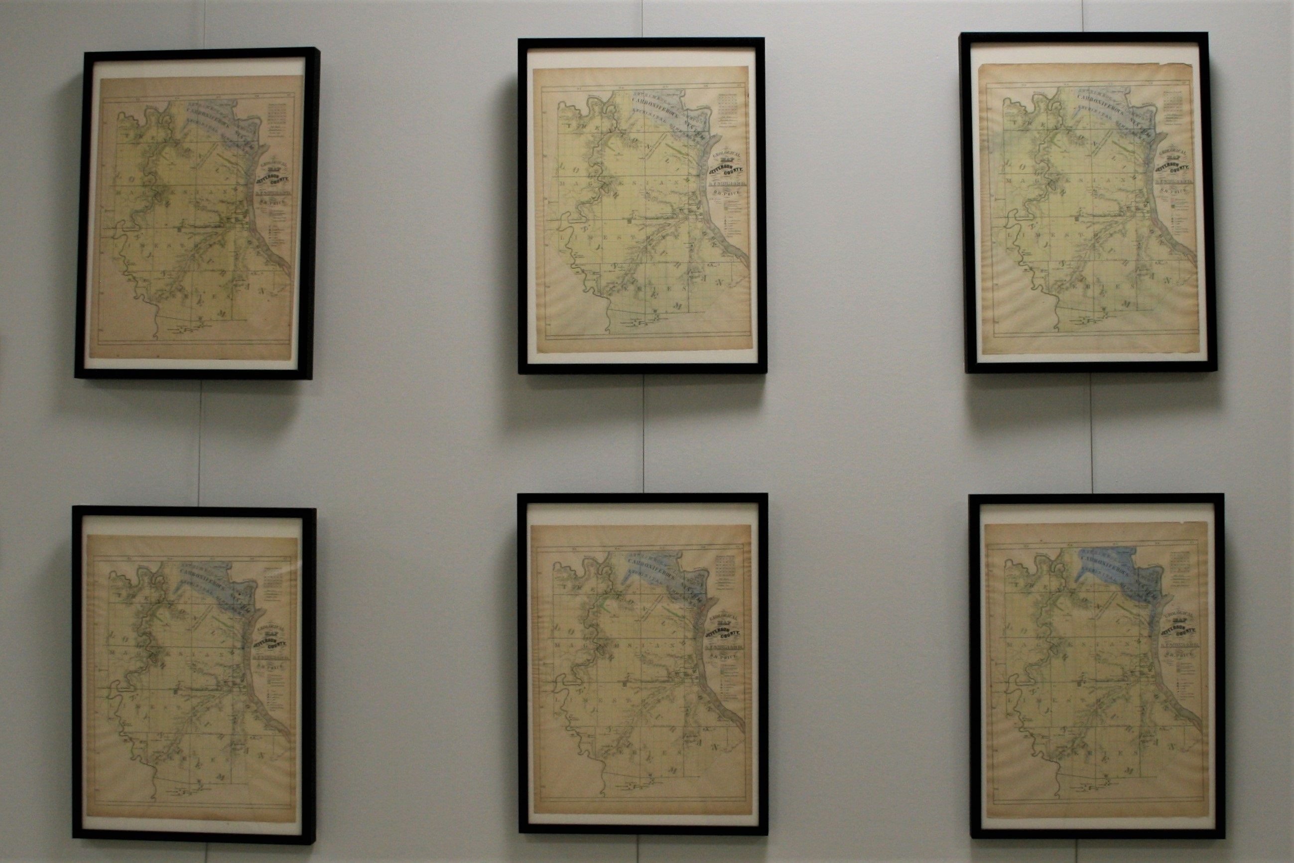 Image of six framed geologic maps of missouri from 1876