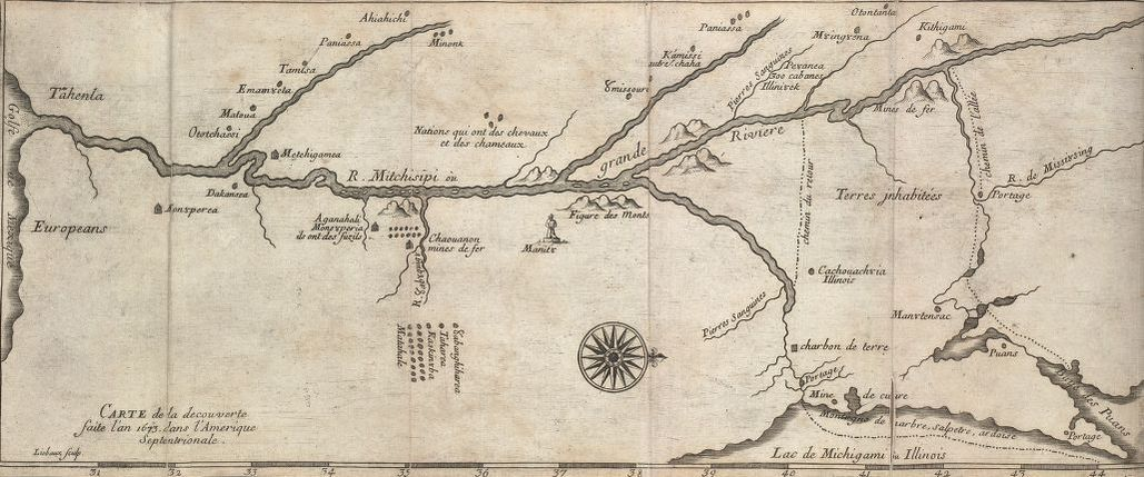 Map from 1600's showing Missouri and Mississippi rivers and vacinity