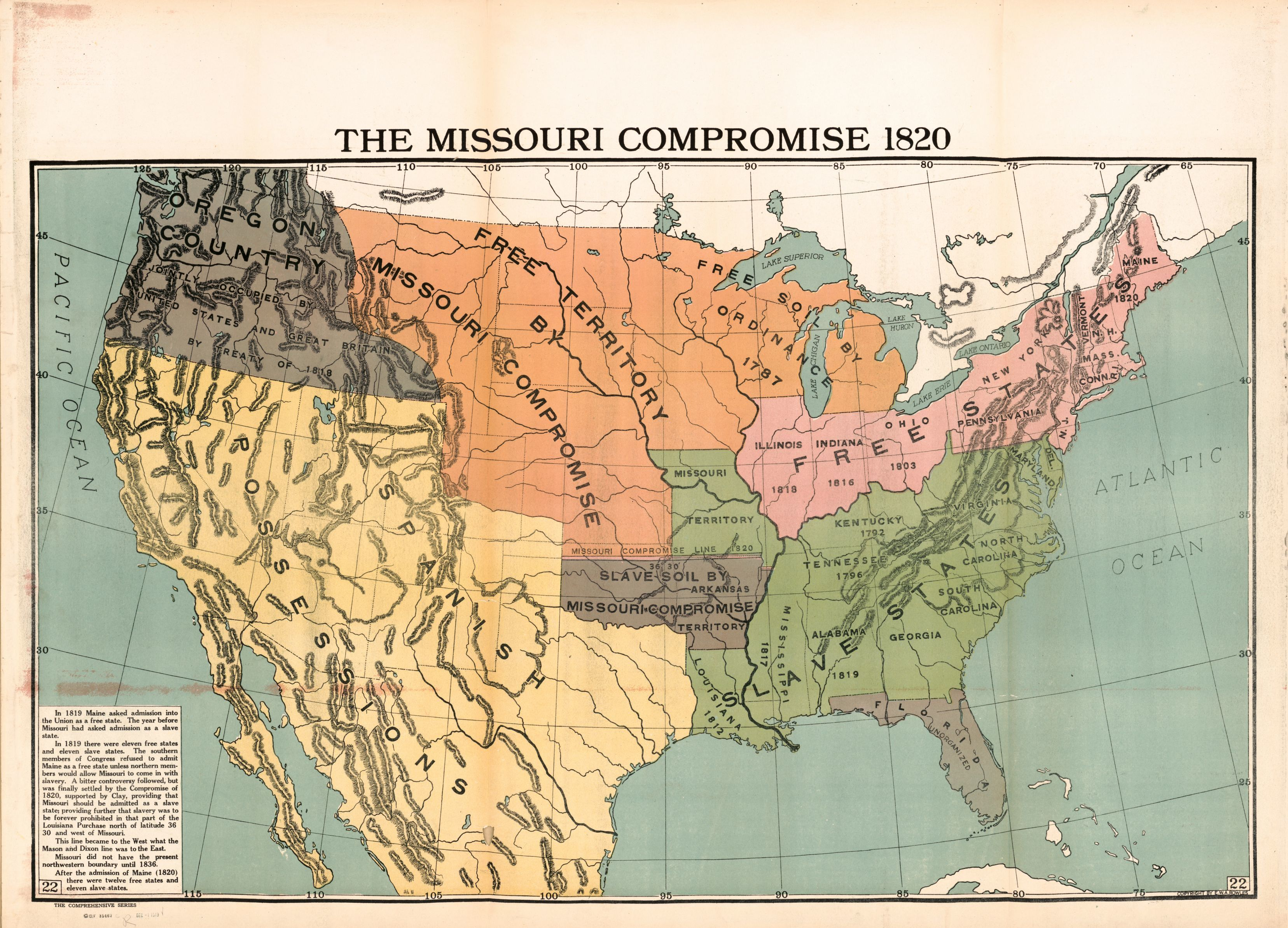 map of disputed territory resolved in the Missouri Compromise