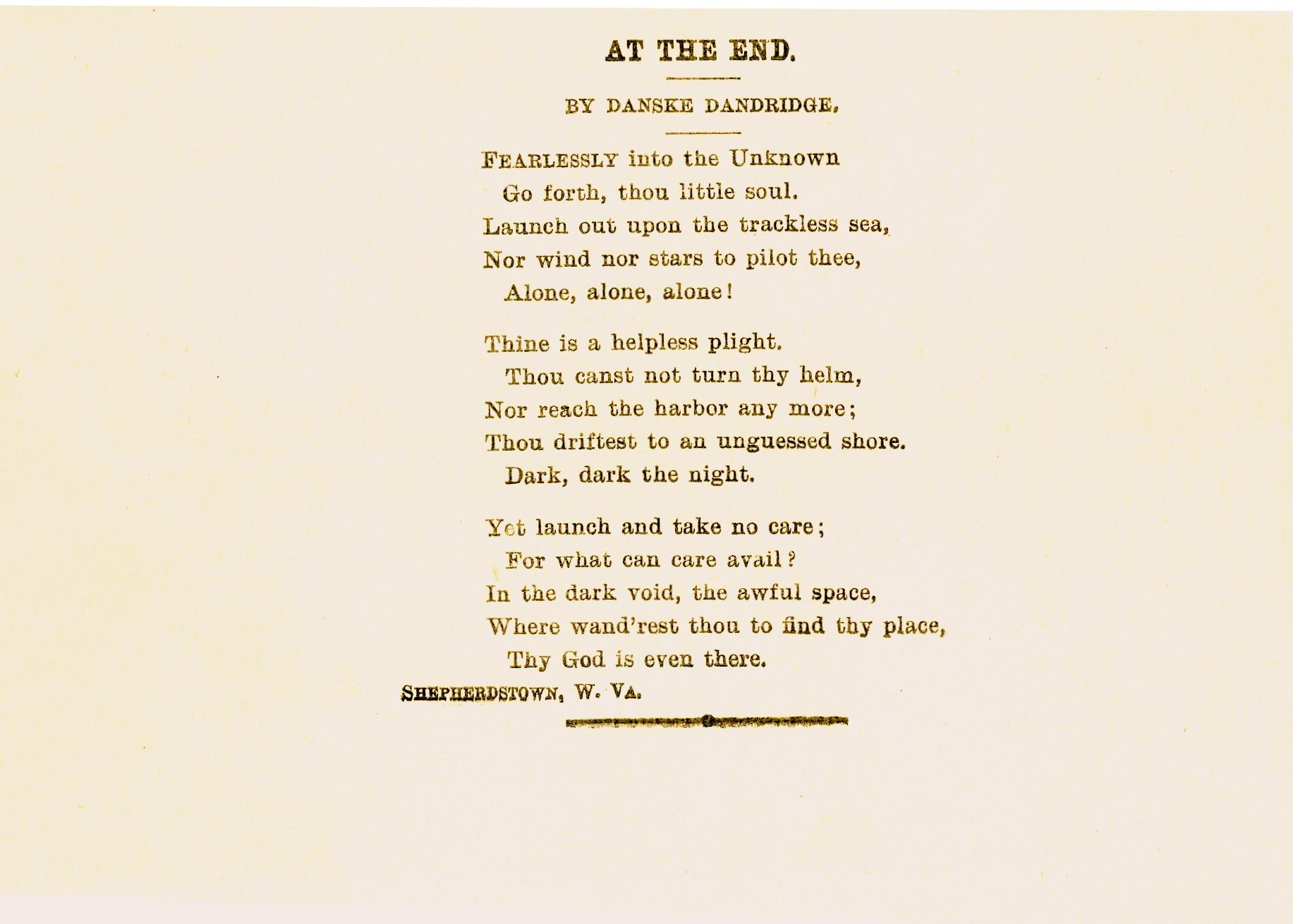 Danske Dandridge poem, At the End.