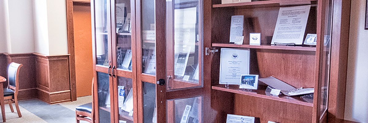 Image of Trefry Archives display case.