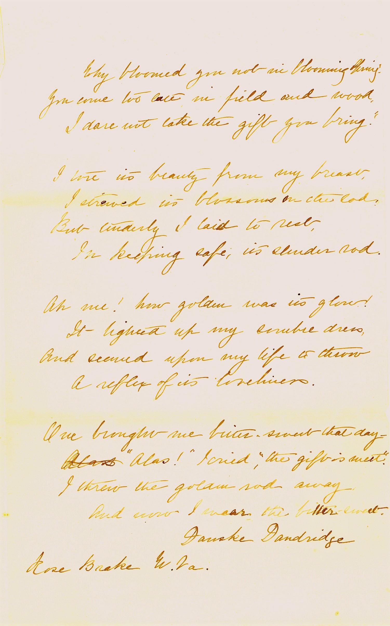 Danske Dandridge poem, Golden-rod and Bitter-sweet