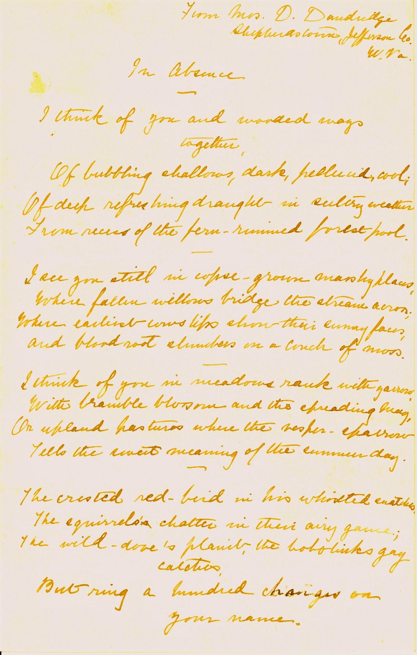 Danske Dandridge poem, In Absence