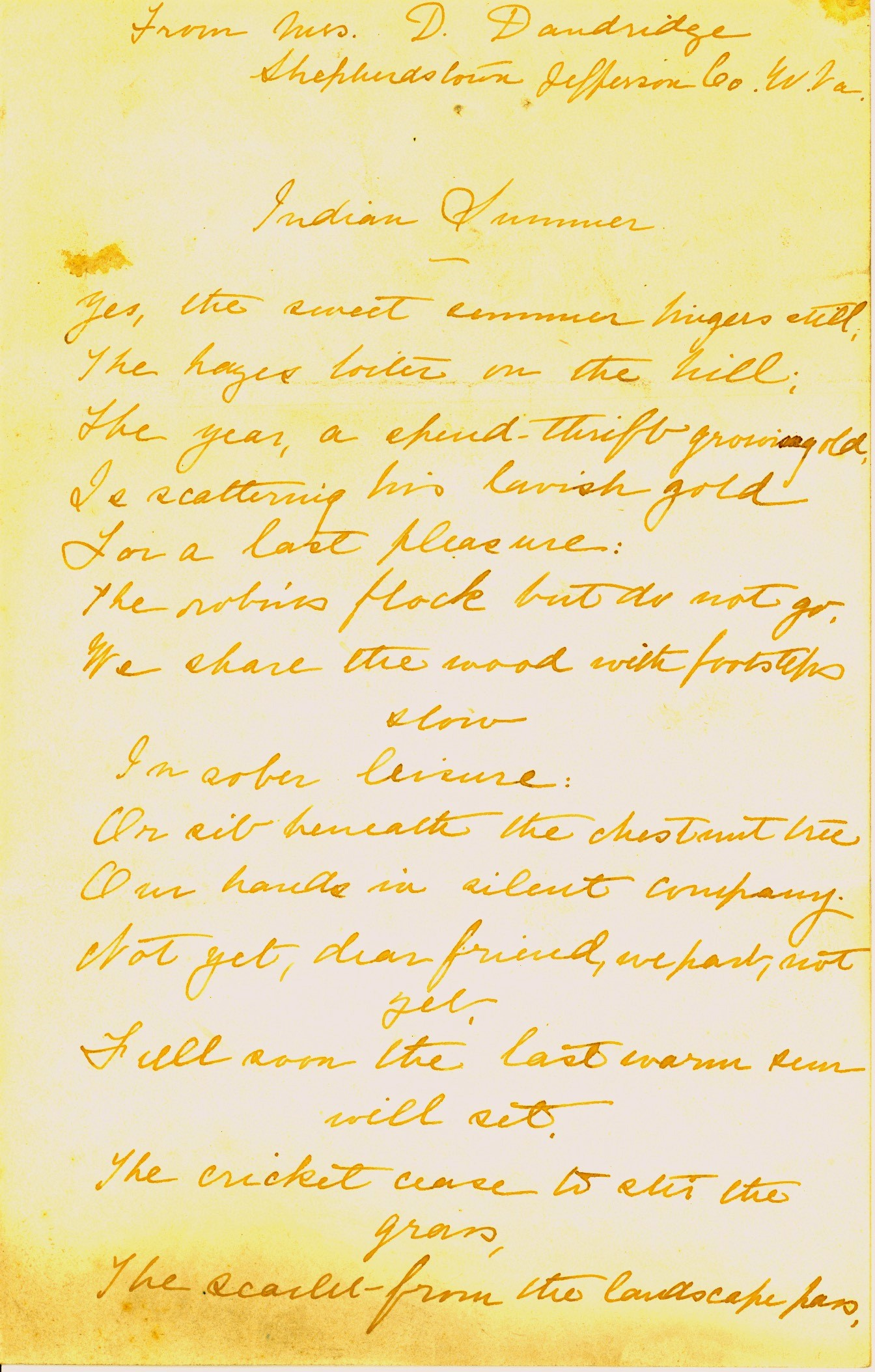 Danske Dandridge poem, Indian Summer