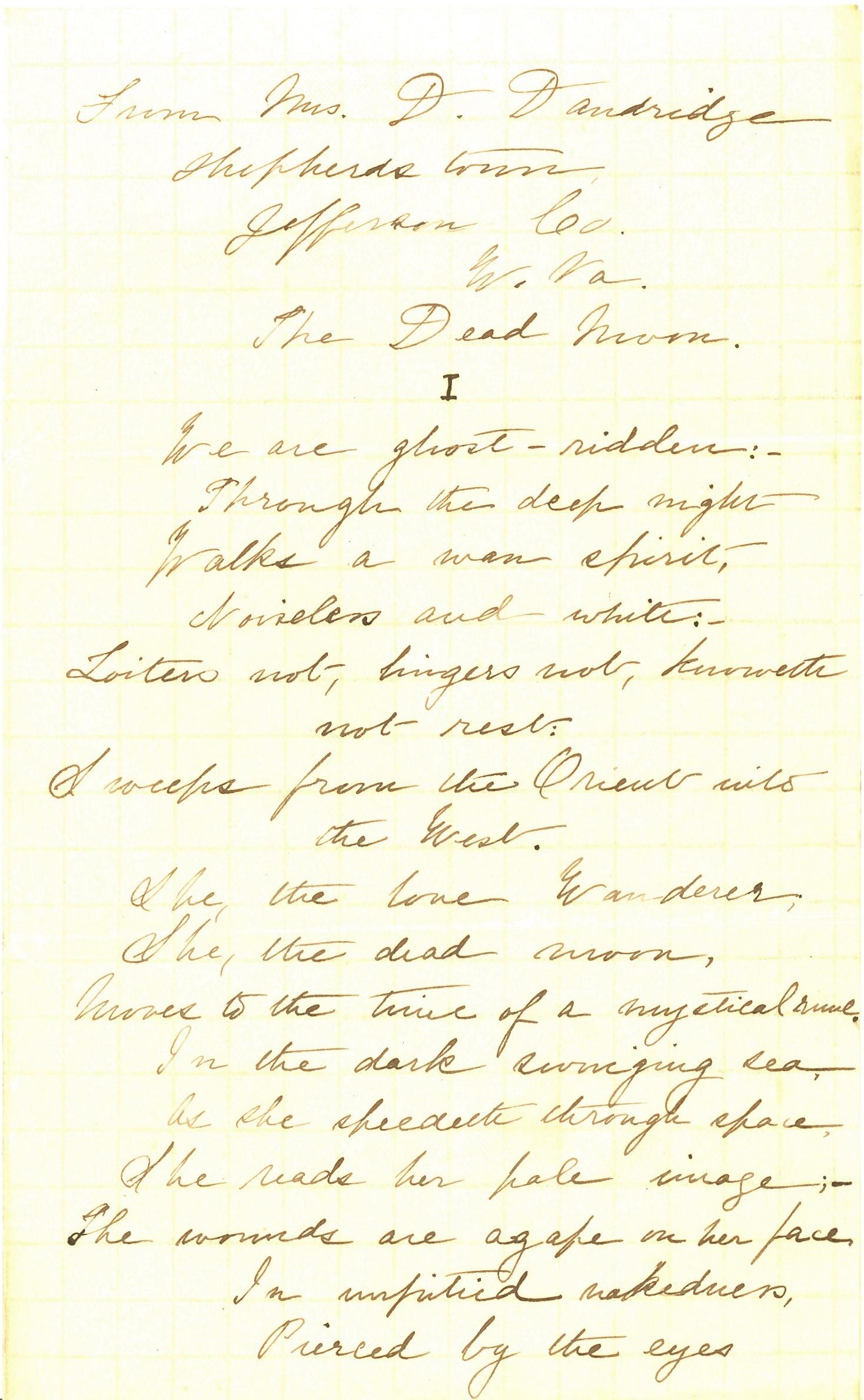 Danske Dandridge poem, The Dead Moon