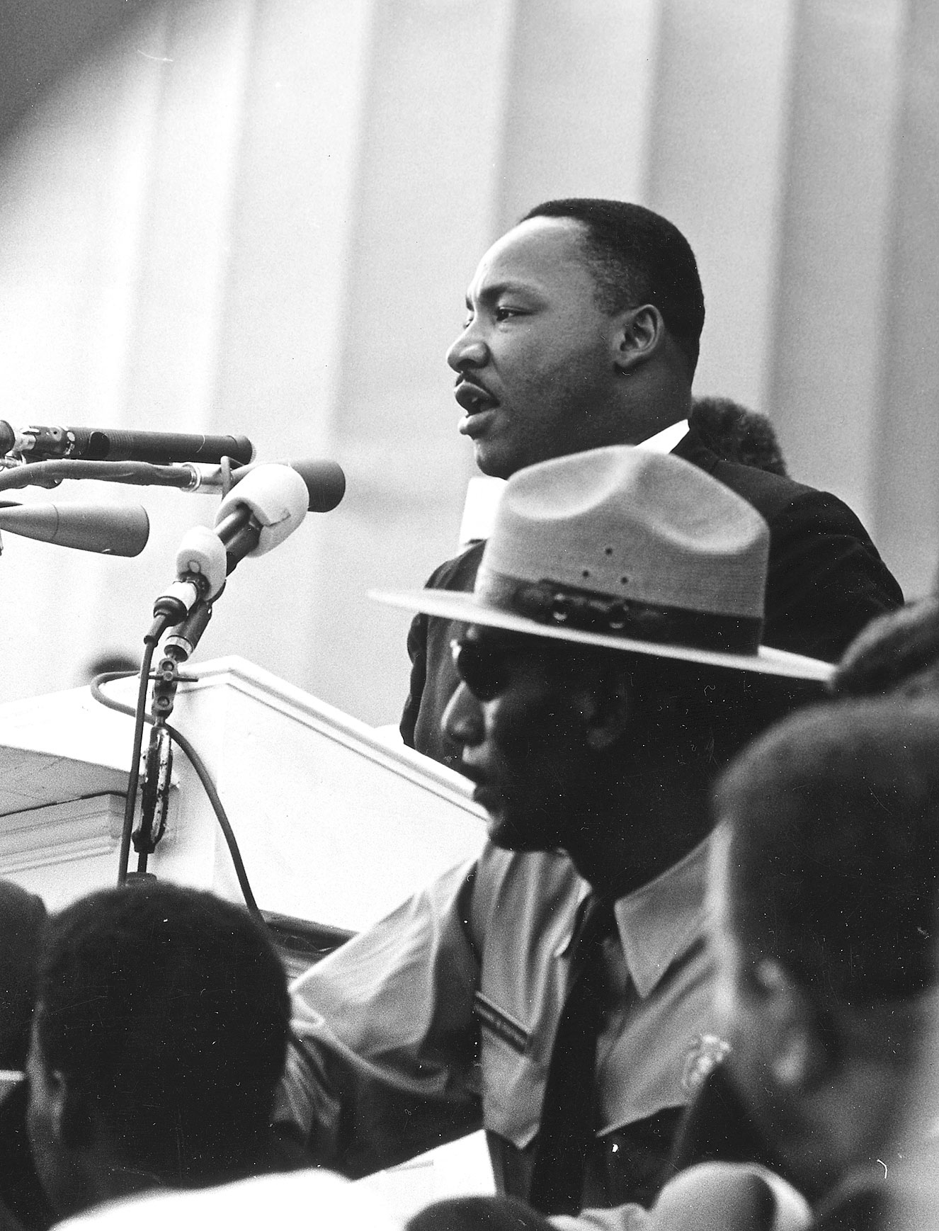 """The Rev. Martin Luther King Jr. delivers his """"I Have a Dream"""" speech during the March on Washington, August 28, 1963."""