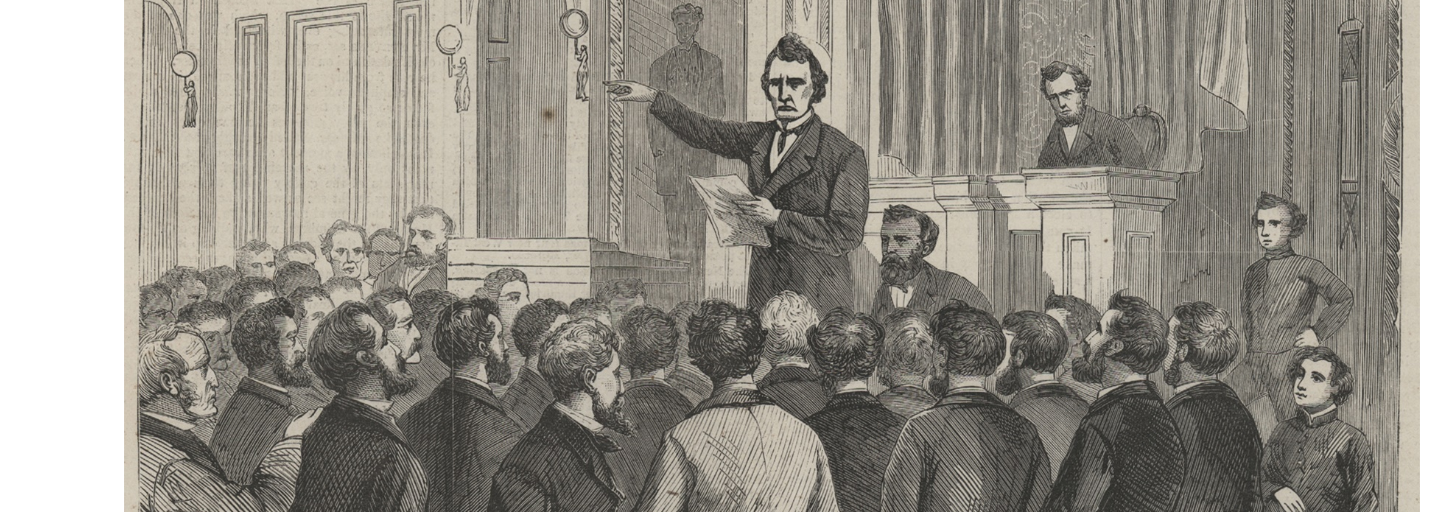 Representative Thaddeus Stevens of Pennsylvania, a Radical Republican, gave the last speech during House debate on articles of impeachment against President Andrew Johnson on March 2, 1868. Johnson became the first president impeached by the House, but he was later acquitted by the Senate by one vote.
