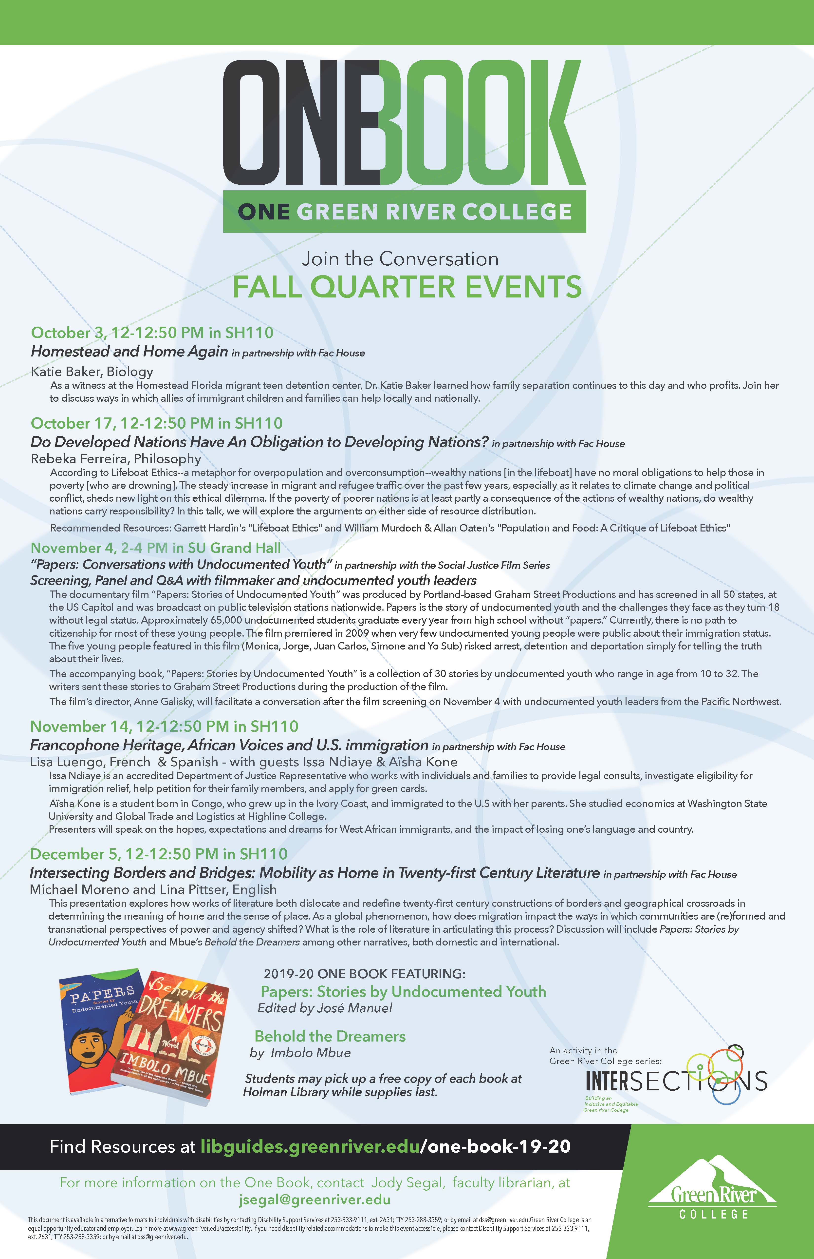 One Book Fall Events