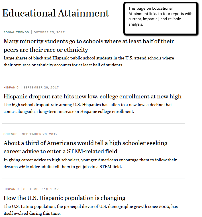 Pew Educational Attainment Reports