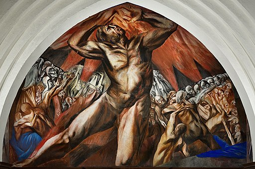 Prometheus mural by José Clemente Orozco in Frary Dining Hall at Pomona College