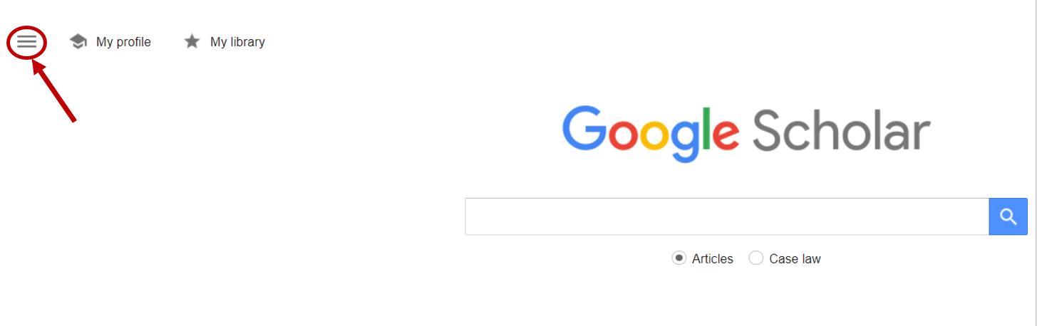 Screenshot showing the three horizontal bars on the Google Scholar homepage.