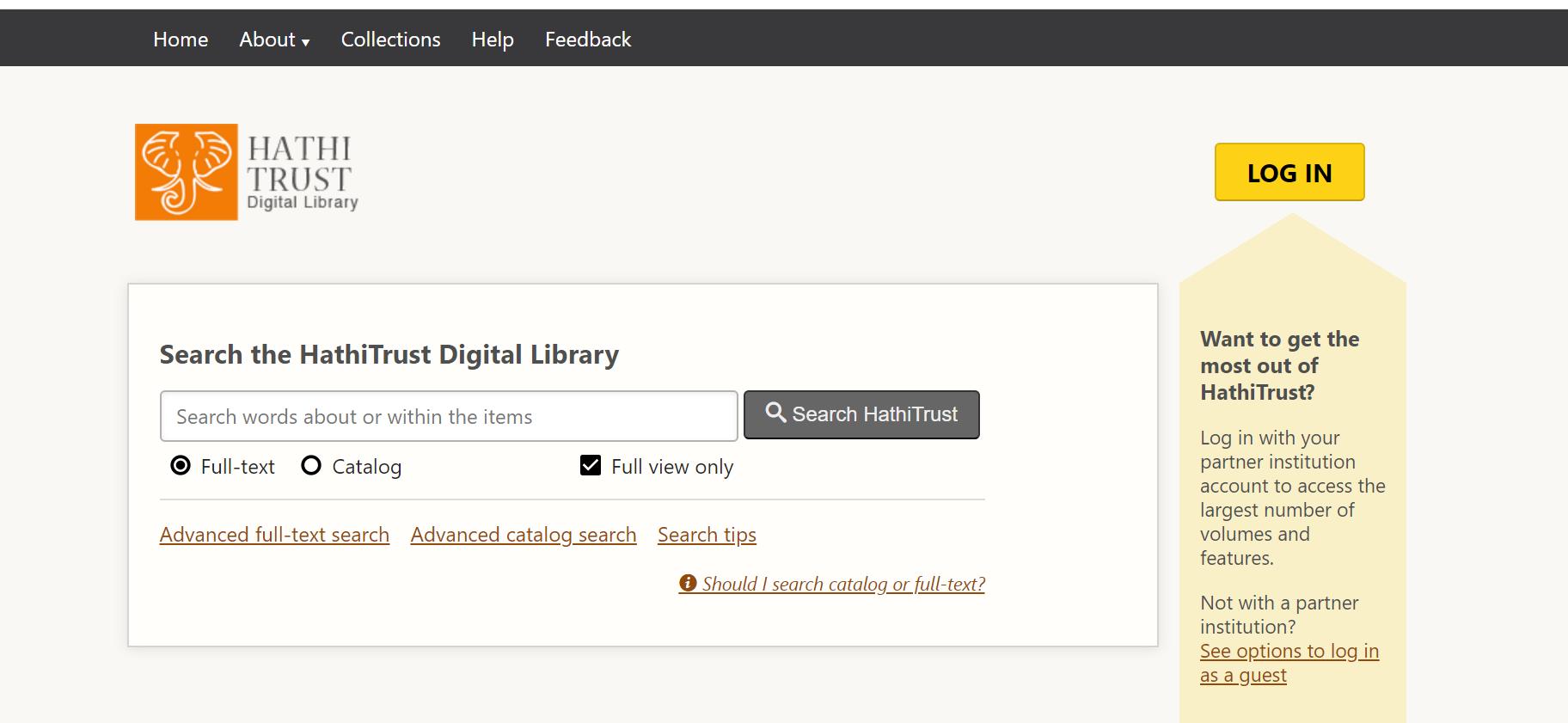 screenshot of Hathi Homepage showing the LOGIN button